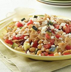 Greek Pasta Salad is the perfect one-dish meatless meal. It's high in protein and fiber-rich so you'll stay fuller longer. Plus it can be made ahead saving you time.
