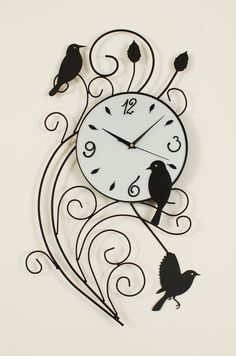 Ashton Sutton Metal Wall Clock with Birds