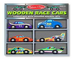 On your mark, get set, go! Here are six exciting hand painted, wooden race cars. A great addition to extend imaginative block play and compatible with popular wooden railway systems.