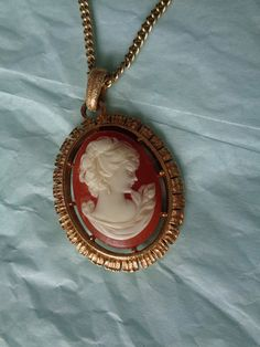 Vintage cameo necklace reversible large pink by hopechestgifts, $14.00