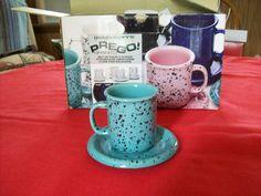 Crown Corning Prego Granito Aqua Demitasse Cups and Saucer Sets Four | eBay