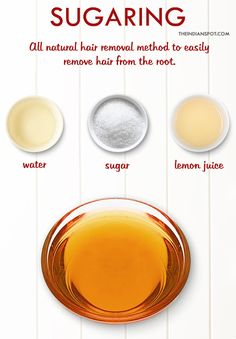 Sugaring is an all-natural method that uses a paste or gel made from sugar, water and lemon juice to easily remove the hair from the root. It washes off easily with water and the results can last up to six weeks.   To make a natural hair removal sugar wax, you will need:  1 cup sugar 1/4 cup water 1/4 cup lemon juice  Method -   Pour sugar and water in a saucepan and melt it until the sugar caramelizes. Squeeze the juice of half a lemon to the sugar. Be careful the sugar will be fo...