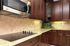 back splash with dark cabinets
