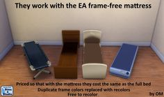EA single bed frames, mattress-free for Sims 4