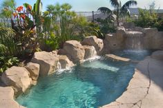 Would like to see more edge around the spa. Tiny tropical themed pool Special features: Artificial rock waterfalls and boulders, coping and tile. 8' x 16'x 5' deep splash pool with baja landing and seperate spa. Pebble tec, color changing lights, salt water pool, lush tropical landscaping. San Clemente, Ca.