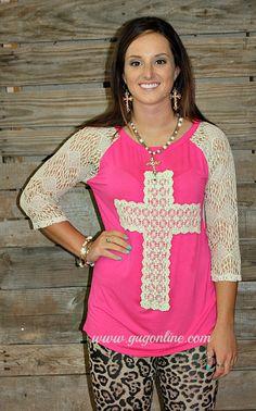 Southern Grace Cross Crochet Top in Hot Pink  www.gugonline.com