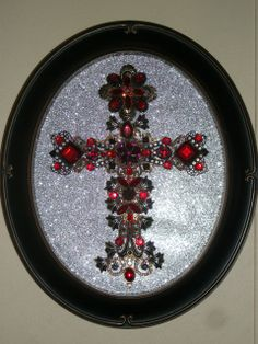 Vintage Rhinestone Jewelry Christmas Tree Cross Art By Tami R Dean