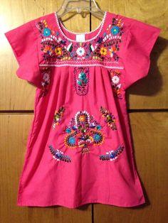 NEW! Girls 4 Mexican Dress Traditional Costume Embroidered Bright Pink Hispanic #Handmade #DressyEverydayHoliday
