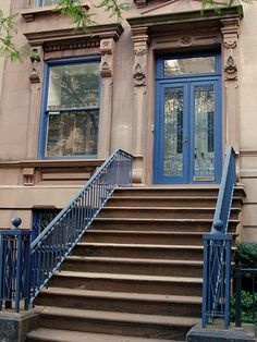 Townhouse front stoops are my favorite... ever since Sesame street  NYC Brownstone #stoop #bluedoor