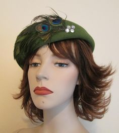 Olive Green Feather Hat Vintage 1960's Wool Felt Peacock Rhinestones Was $22 - Now $10  http://www.rubylane.com/item/676693-ACC156/Olive-Green-Feather-Hat-Vintage-1960x27s