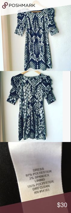 Blue & green snakeskin dress w/high shoulders Stylish, unique dress in excellent condition. Lmk any questions, for for 15% off. Jessica Simpson Dresses Midi
