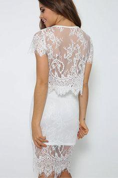 White Floral Lace Mini Skirt Set