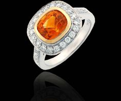 Great Orange Sapphire and Diamonds