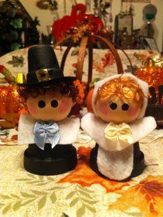 Pilgrim boy & girl made from mini terra cotta clay pots