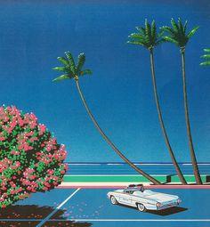hiroshi nagai #beach #palms #80s #art
