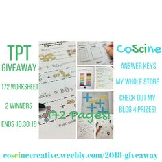 TpT Giveaway My WHOLE STORE by CoScine. Hosted by KingSumo Giveaways Teaching Chemistry, Teaching Time, Teaching Ideas, Secondary Math, Giveaways, Science, Store, Blog, Junior High Math