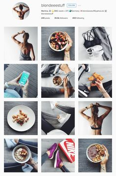 Twenty-two-year-old Martina has created a gorgeous stream of catalog-ready photos, documenting her outfits, insane sneaker collection, and food. This BBG Instagram Feed Tips, Fitness Instagram Accounts, Instagram Feed Layout, Instagram Accounts To Follow, Instagram Grid, Instagram Ideas, Bbg, Bikini Body Guide, Yoga Outfits
