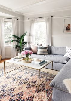Blue and Pink Boho Family Room | Chambray Sectional