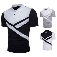 Buy 2018 New Pattern Men's Polo Shirt Casual Spell Color Short-Sleeve Tops Tees at Wish - Shopping Made Fun African Dresses Men, African Men Fashion, Stylish Shirts, Casual T Shirts, Polos Lacoste, Camisa Polo, Tee Shirt Designs, Formal Shirts, Mens Fashion Suits