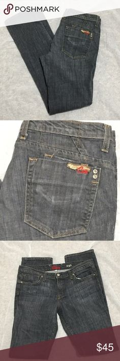 """Blue Cult """"the duff's"""" Jeans Size 31 Like new jeans, no bling, basic rear pockets, except the small coin like pocket on the right rear side.  They have a gray/light black wash that also appears faded.  98% cotton 2% spandex  Machine wash in cold and line dry.  Measurements are approximate laying flat. Waist 17"""" Rise 8.5"""" Inseam 34"""" Width at hem 7""""  Size 31 Blue Cult Jeans"""