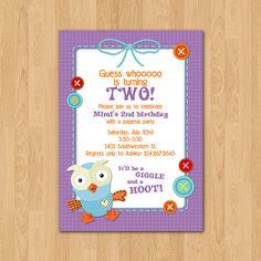 Items similar to PRINTABLE Giggle & Hoot Owl birthday party invitation on Etsy Owl Birthday Parties, Baby Birthday, Birthday Bash, Birthday Ideas, 2nd Birthday Invitations, Party Packs, Party Printables, Party Time, First Birthdays