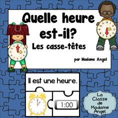 $ Quelle heure est-il?  Set of time puzzles featuring analog and digital clocks, as well as the time written in French.  Telling time to the hour and half hour!