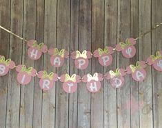 Banner de cumpleaños de Minnie de rosa y oro color de rosa y