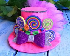 Rainbow mini top hat, Pink mini top hat, Fascinator, Birthday party hat, Mad hatter hat, Tea party hat, Rainbow headband,Alice in Wonderland