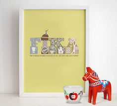 FIKA  Swedish Poster Print  Kitchen Art by HomePosters on Etsy, $20.00