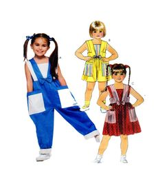 McCalls 4326 Size 4-5-6 Toddler Girl Overalls, Romper Full Pant or Shorts, Jumper Dress by FindCraftyPatterns on Etsy