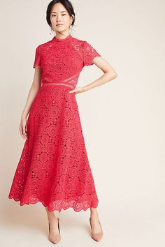 Petite ML Monique Lhuillier Luisa Lace Maxi Dress in Red Size: 4 P Womens Dresses at Anthropologie Lace Maxi, Maxi Wrap Dress, Boho Dress, Dress Up, Lace Dresses, Bride Dresses, Ml Monique Lhuillier, Boutique Dresses, Party Dress