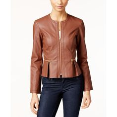 Inc International Concepts Macy's Faux-Leather Peplum Moto Jacket, ($100) ❤ liked on Polyvore featuring outerwear, jackets, french cafe, motorcycle jackets, faux leather motorcycle jacket, brown motorcycle jacket, biker jacket and moto jacket