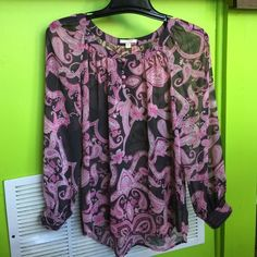 PLEIONE For Anthropologie pink gray paisley sheer In excellent pre owned condition. Rough edge sleeve cuffs. Puffy arms! So adorable! Anthropologie Tops Blouses