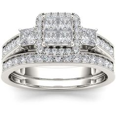 1 CT. T.W. Diamond Cluster 10K White Gold Bridal Ring Set ($3,117) ❤ liked on Polyvore featuring jewelry, rings, bridal jewelry, bridal jewellery, round ring, bridal rings and bridal set rings