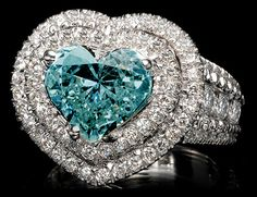 Unique blue diamond Engagement Rings   ... Heart Cut Certified Blue Diamond Unique Engagement Ring 14k White Gold
