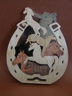 New Horses In Horseshoe Wooden Puzzle Toy Hand Cut With Scroll Saw