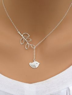 Bird and Branch lariat necklace in STERLING SILVER