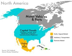 World Commodities Map: North America - Export that makes the most money