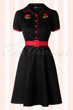 Dolly and Dotty 50s Sherry Roses Diner Dress in Black