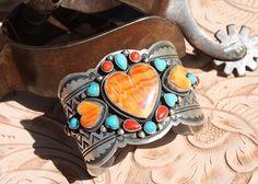 Extraordinary Raymond Bennett Spiny Oyster & Turquoise Heart Cuff Bracelet!!!