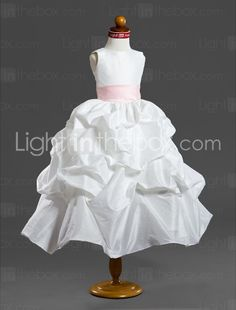 OMG! A-line Square Floor-length Organza Satin Flower Girl Dress/ First Communion Dress