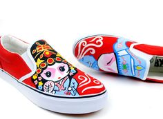 Special Peking Opera Themed Hand Painted Slip-on Shoes  Being full of Chinese arts features, the Peking Opera (Beijing Opera ) is an encyclopedia of Chinese culture, as well as unfolding stories, beautiful paintings, exquisite costumes, graceful gestures and martial arts. So, it's regarded as the national treasure with a history of 200 years. More at www.shoemycolor.com