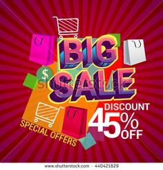 Big sale discount 45% off vector design for banner, flyer and brochure with shopping bag isolated on red background for event promotion business or department store.