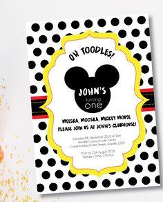 Mickey or Minnie Mouse Birthday Invitation - First Birthday - Oh Toodles! Minnie Mouse Birthday Invitations, First Birthdays, Rsvp, Prints, One Year Birthday