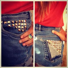 DIY studded shorts <3