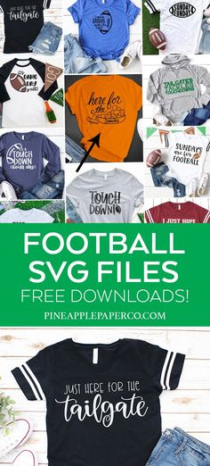 FREE Just Here for the Tailgate SVG File to make Shirts and Cups with your Cricut PLUS 13 MORE FREE FOOTBALL SVG Files at Pineapple Paper Co. #cricut #svg #freesvg #totallyfreesvg #svgfile #tailgate #football #gameday #tailgateparty Cricut Htv, Svg Files For Cricut, Free Football, Graphic Design Tools, Game Day Shirts, Designer Friends, Papers Co, Vinyl Projects, Vinyl Designs