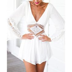 Stylish V-Neck Long Sleeve See-Through Backless Women's Romper http://www.nastydress.com/pg/48406.html?lkid=4339