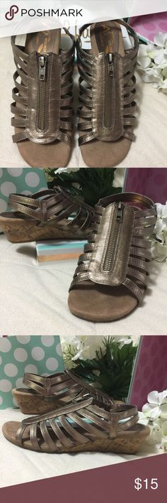 A2 By Aerosoles HeelRest Gold Sandals Size 7M EUC Only wore once( I can only wear certain shoes because I have had neck surgery) so these are EUC zips on the top size 7M A2 by Aerosoles Shoes Sandals