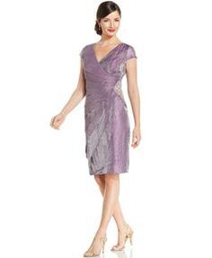 London Times Cap-Sleeve Shimmer Shutter-Pleat Dress