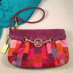 "💥COACH Suede Patchwork Wristlet 💥Final Price Unless Bundled💥Pre loved. In near new condition. Adorable and vibrant colors with classic brass hardware details. Measures 5""x7"" and comfortably houses my iPhone 6 (not plus)👍🏼 Coach Bags Clutches & Wristlets"